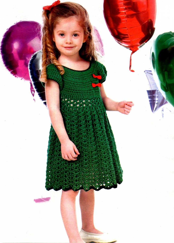 Вязание крючком платья для девочек 6-7 лет